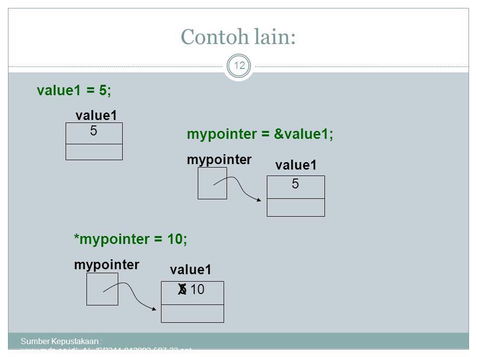 Contoh lain: Sumber Kepustakaan : www.mdp.ac.id/...1/.../SP244-042092-597-23.ppt - 12 value1 = 5; 5 value1 5 mypointer mypointer = &value1; 5 10 mypointer *mypointer = 10; value1 x