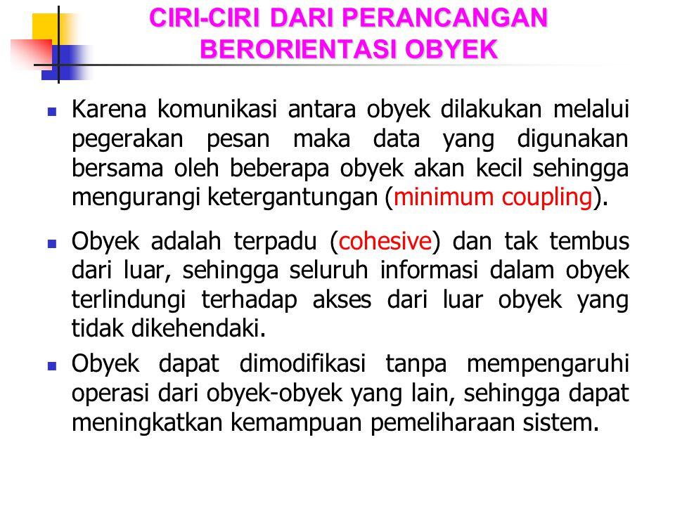 CIRI-CIRI DARI PERANCANGAN BERORIENTASI OBYEK Karena komunikasi antara obyek dilakukan melalui pegerakan pesan maka data yang digunakan bersama oleh b