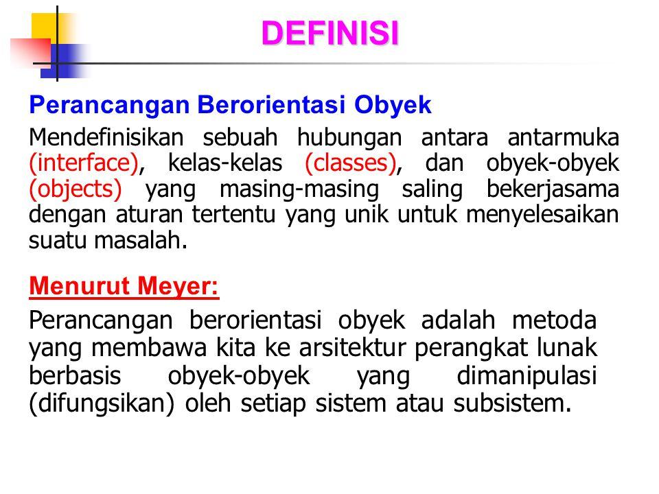 DEFINISI Perancangan Berorientasi Obyek Mendefinisikan sebuah hubungan antara antarmuka (interface), kelas-kelas (classes), dan obyek-obyek (objects)