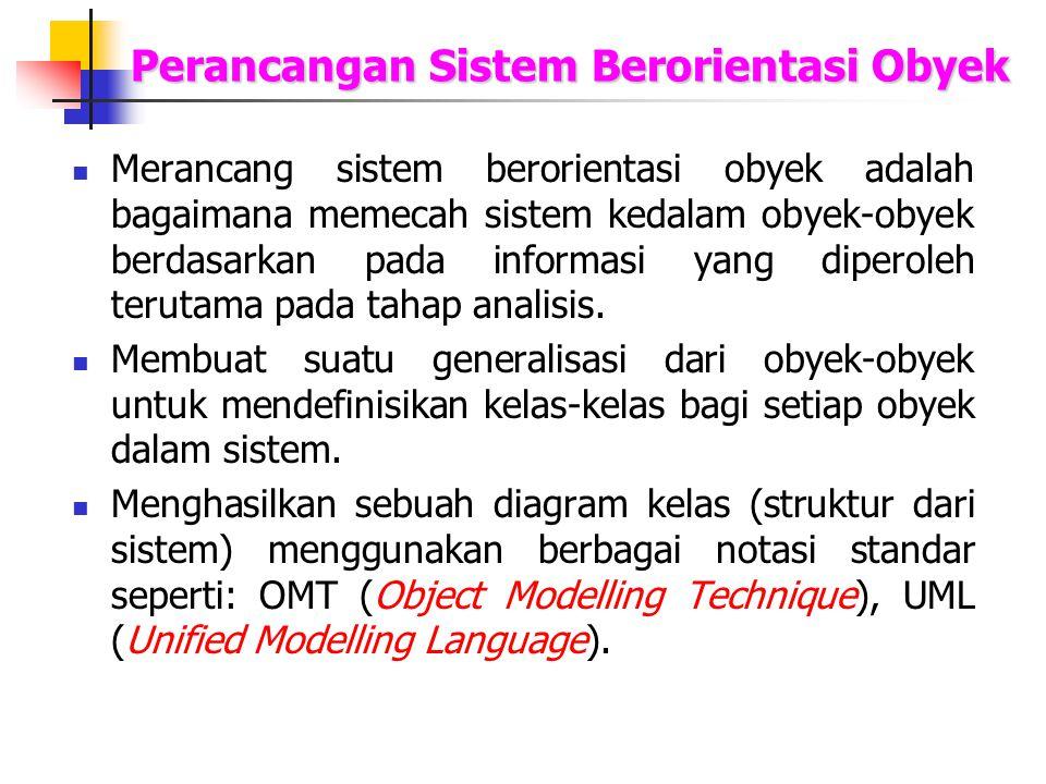 Perancangan Sistem Berorientasi Obyek Merancang sistem berorientasi obyek adalah bagaimana memecah sistem kedalam obyek-obyek berdasarkan pada informa