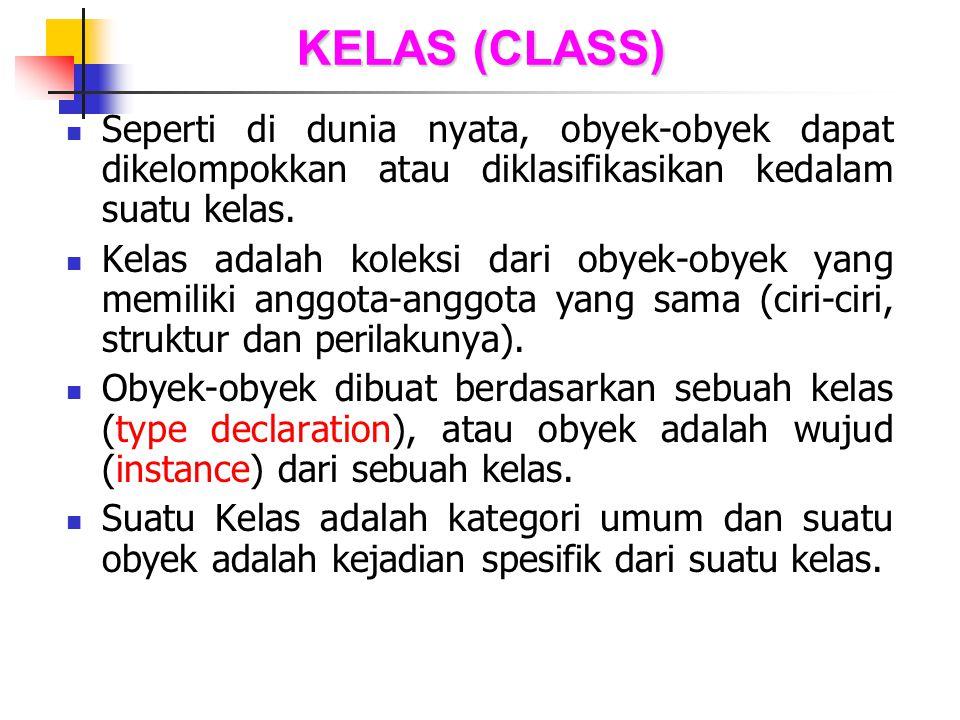 KELAS (CLASS) Seperti di dunia nyata, obyek-obyek dapat dikelompokkan atau diklasifikasikan kedalam suatu kelas. Kelas adalah koleksi dari obyek-obyek