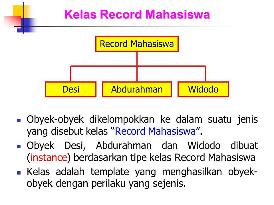 """Kelas Record Mahasiswa Obyek-obyek dikelompokkan ke dalam suatu jenis yang disebut kelas """"Record Mahasiswa"""". Obyek Desi, Abdurahman dan Widodo dibuat"""
