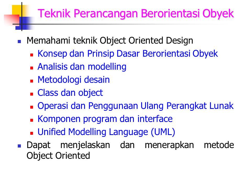 Teknik Perancangan Berorientasi Obyek Memahami teknik Object Oriented Design Konsep dan Prinsip Dasar Berorientasi Obyek Analisis dan modelling Metodo