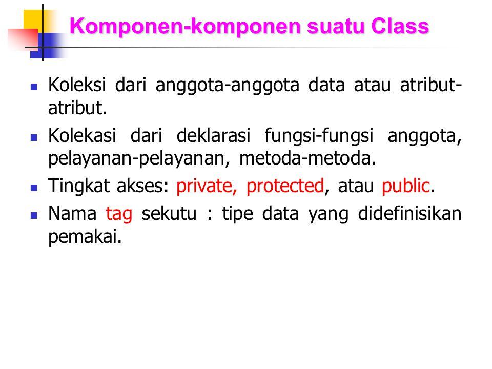 Komponen-komponen suatu Class Koleksi dari anggota-anggota data atau atribut- atribut. Kolekasi dari deklarasi fungsi-fungsi anggota, pelayanan-pelaya