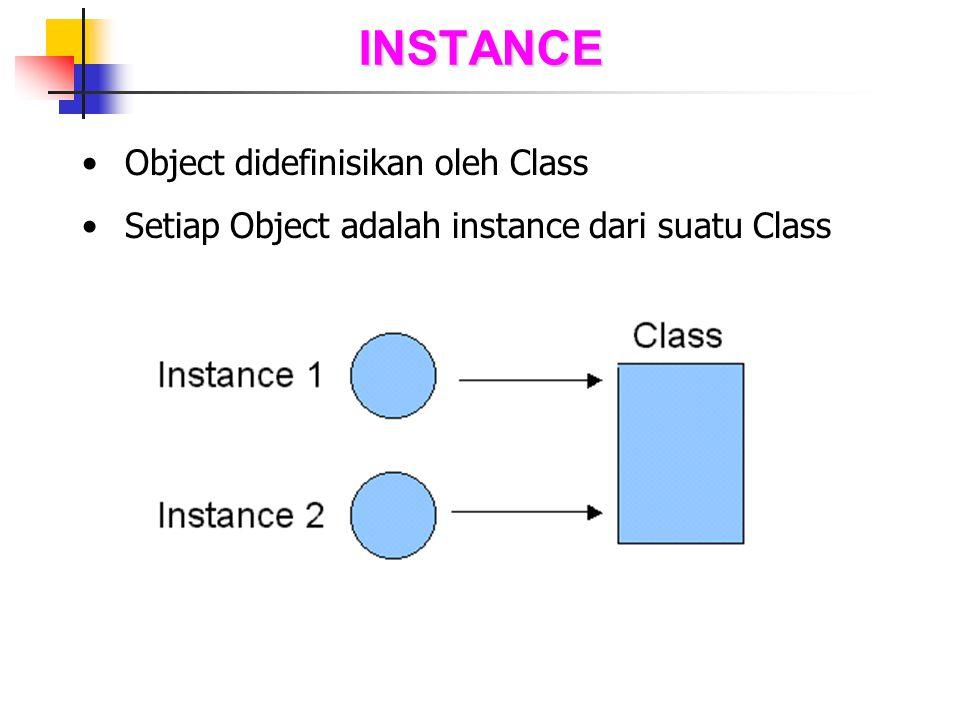 INSTANCE Object didefinisikan oleh Class Setiap Object adalah instance dari suatu Class