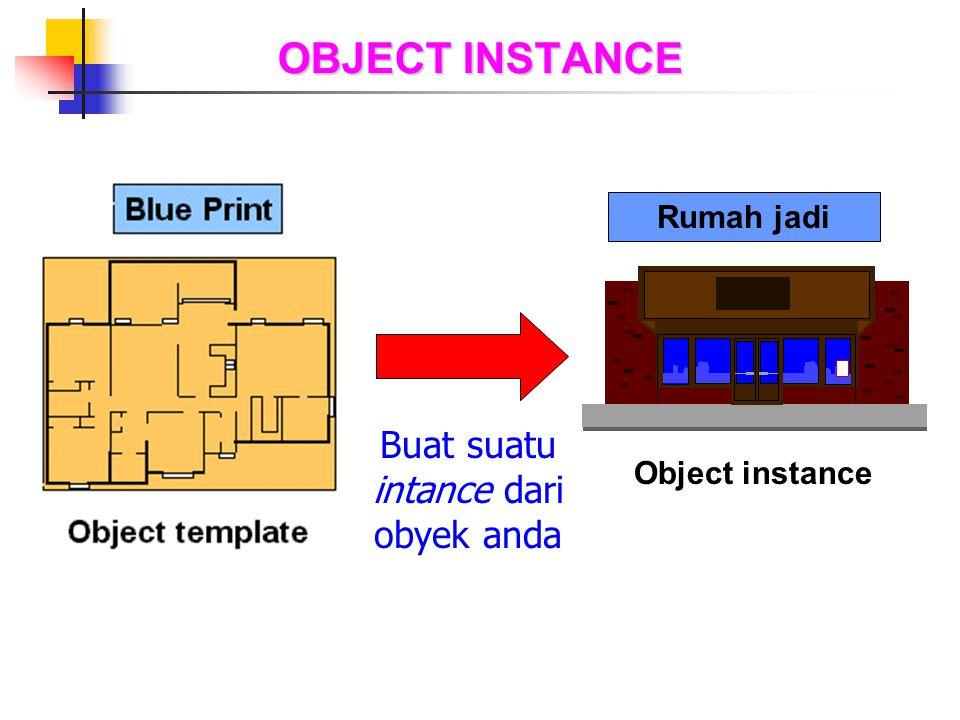 OBJECT INSTANCE Buat suatu intance dari obyek anda Object instance Rumah jadi