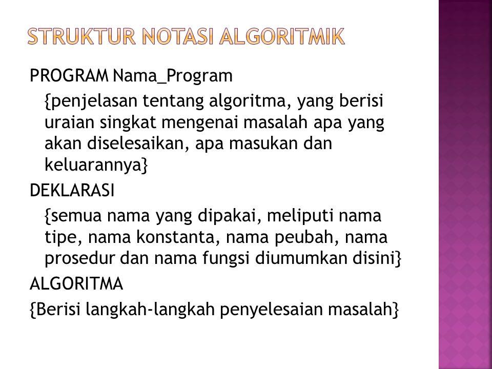 /* PROGRAM Nama_Program */ /* {penjelasan tentang algoritma, yang berisi uraian singkat mengenai masalah apa yang akan diselesaikan, apa masukan dan keluarannya} */ /* DEKLARASI */ /* semua nama yang penggunaannya global didefinisikan disini */ /* Purwarupa prosedur dan fungsi didefinisikan disini */ /* ALGORITMA */ Main () { /*disini juga mungkin ada DEKLARASI lokal */ /* semua instruksi program dituliskan disini */ }