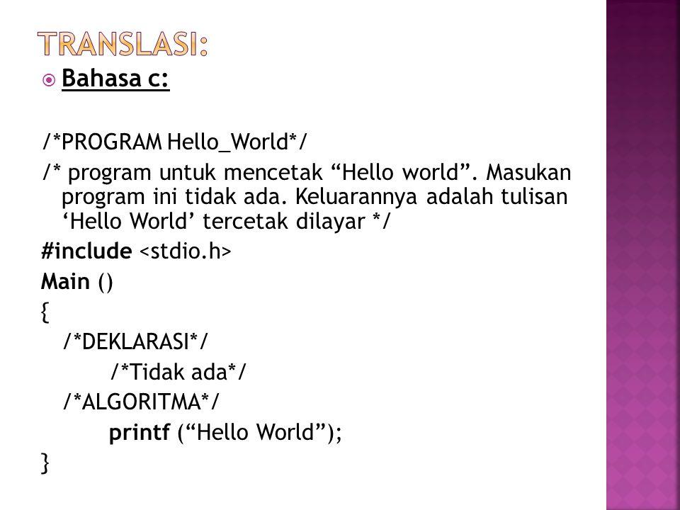 """ Bahasa c: /*PROGRAM Hello_World*/ /* program untuk mencetak """"Hello world"""". Masukan program ini tidak ada. Keluarannya adalah tulisan 'Hello World' t"""