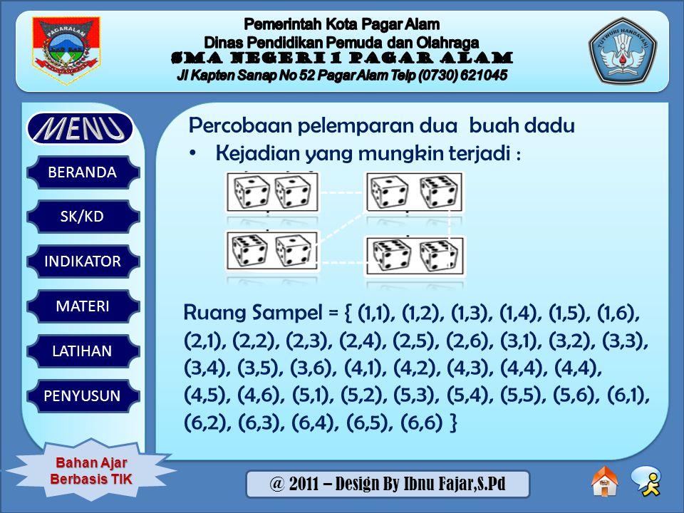 SK/KD BERANDA INDIKATOR MATERI LATIHAN PENYUSUN Bahan Ajar Berbasis TIK @ 2011 – Design By Ibnu Fajar,S.Pd Percobaan pelemparan dua buah dadu Kejadian yang mungkin terjadi : Ruang Sampel = { (1,1), (1,2), (1,3), (1,4), (1,5), (1,6), (2,1), (2,2), (2,3), (2,4), (2,5), (2,6), (3,1), (3,2), (3,3), (3,4), (3,5), (3,6), (4,1), (4,2), (4,3), (4,4), (4,4), (4,5), (4,6), (5,1), (5,2), (5,3), (5,4), (5,5), (5,6), (6,1), (6,2), (6,3), (6,4), (6,5), (6,6) }