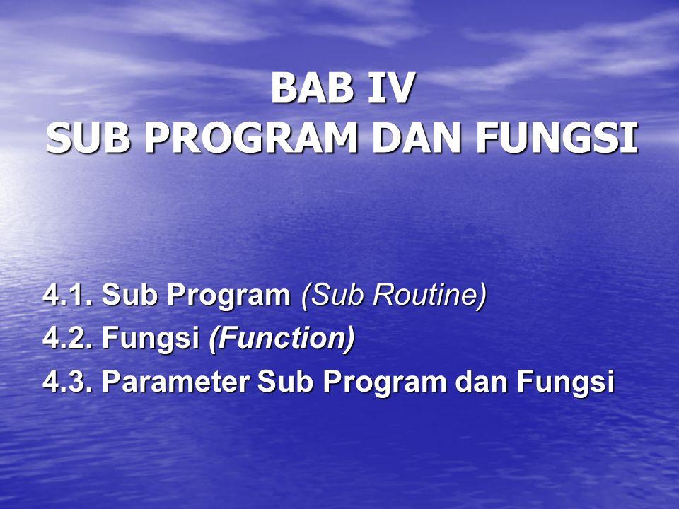 BAB IV SUB PROGRAM DAN FUNGSI 4.1.Sub Program (Sub Routine) 4.2.