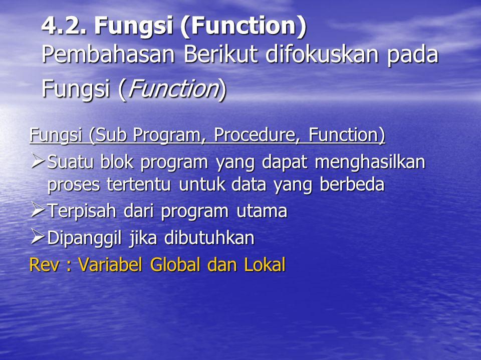Tujuan Pembuatan Fungsi  Program yang besar dan kompleks (rumit) dipecah menjadi fungsi-fungsi yang mengerjakan hal khusus (kecil) dan sederhana (unik)  Memudahkan pembacaan program dan pengujian bagian-bagian program  Semua program dalam bahasa C wajib memiliki fungsi, minimal fungsi utama (main)  Menghindari penulisan kode program yang berulang-ulang