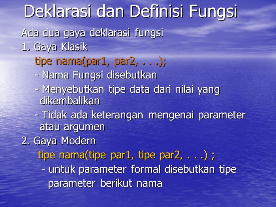 Deklarasi dan Definisi Fungsi Ada dua gaya deklarasi fungsi 1.