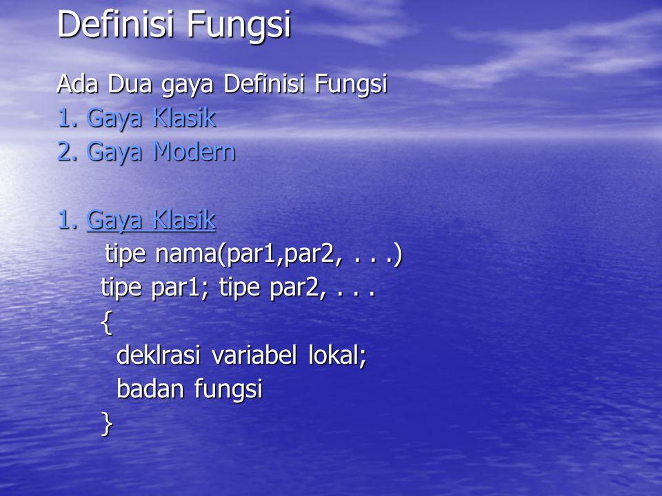 Definisi Fungsi Ada Dua gaya Definisi Fungsi 1.Gaya Klasik 2.