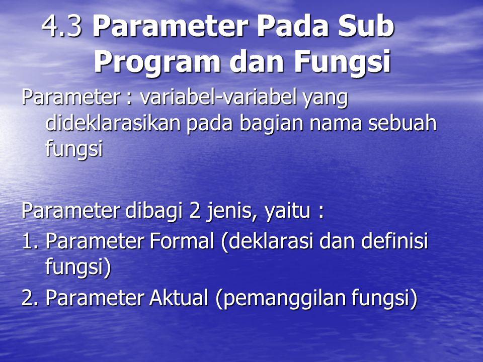 4.3 Parameter Pada Sub Program dan Fungsi Parameter : variabel-variabel yang dideklarasikan pada bagian nama sebuah fungsi Parameter dibagi 2 jenis, yaitu : 1.Parameter Formal (deklarasi dan definisi fungsi) 2.Parameter Aktual (pemanggilan fungsi)