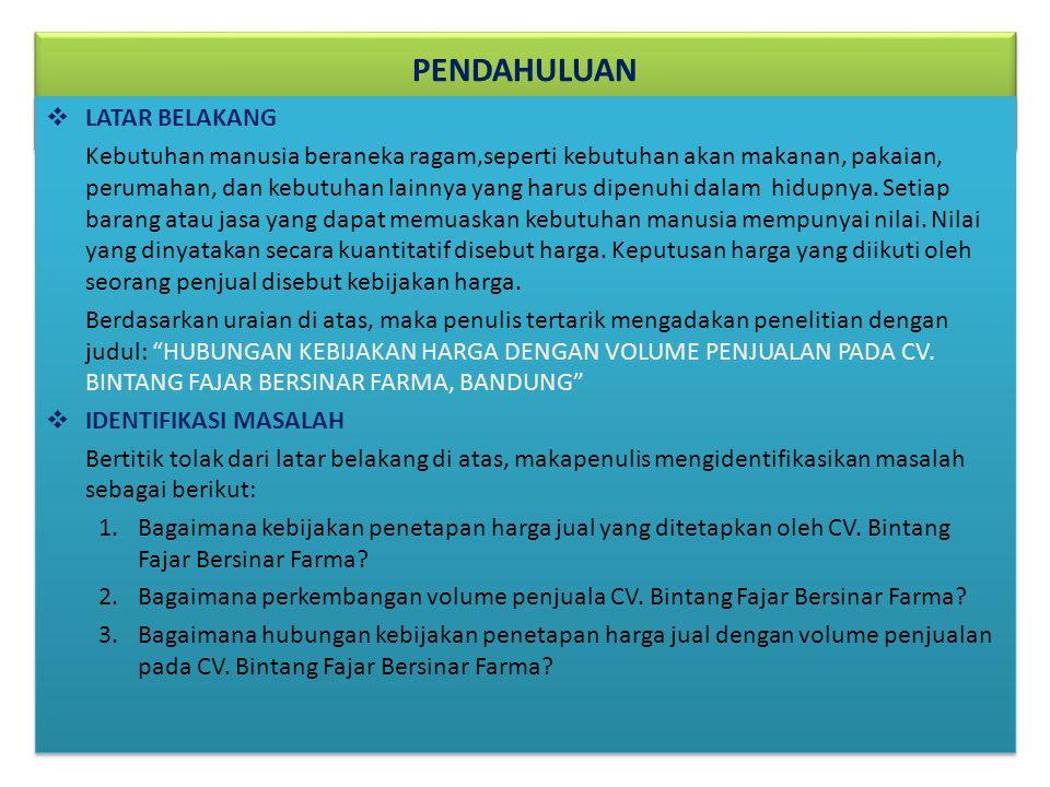 MAKSUD DAN TUJUAN PENELITIAN 1.Untuk mengetahui kebijakan penetapan harga jual yang ditetapkan oleh perusahaan CV.