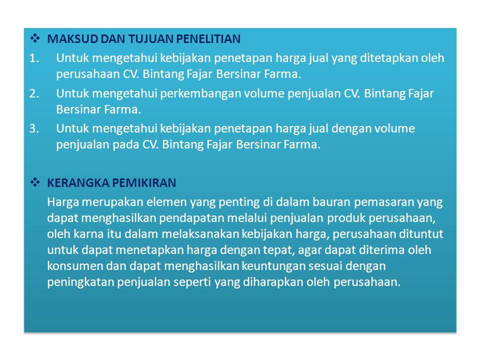  MAKSUD DAN TUJUAN PENELITIAN 1.Untuk mengetahui kebijakan penetapan harga jual yang ditetapkan oleh perusahaan CV. Bintang Fajar Bersinar Farma. 2.U
