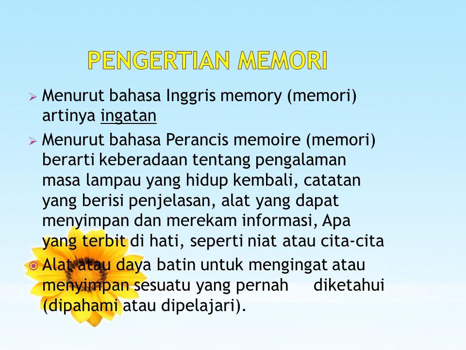  Menurut bahasa Inggris memory (memori) artinya ingatan  Menurut bahasa Perancis memoire (memori) berarti keberadaan tentang pengalaman masa lampau