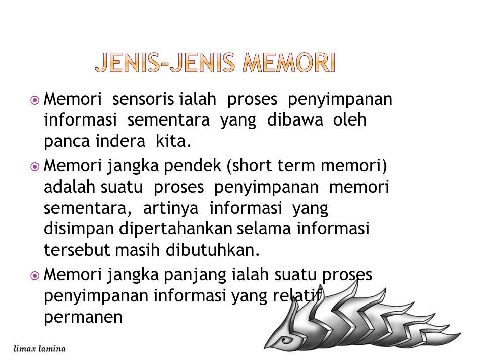  Memori sensoris ialah proses penyimpanan informasi sementara yang dibawa oleh panca indera kita.  Memori jangka pendek (short term memori) adalah s