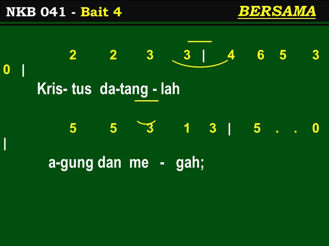 2 2 3 3 | 4 6 5 3 0 | Kris- tus da-tang - lah 5 5 3 1 3 | 5..