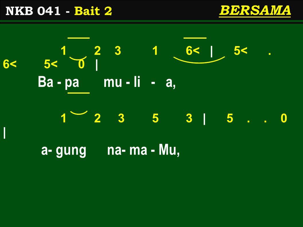 1 2 3 1 6< | 5<. 6< 5< 0 | Ba - pa mu - li - a, 1 2 3 5 3 | 5..