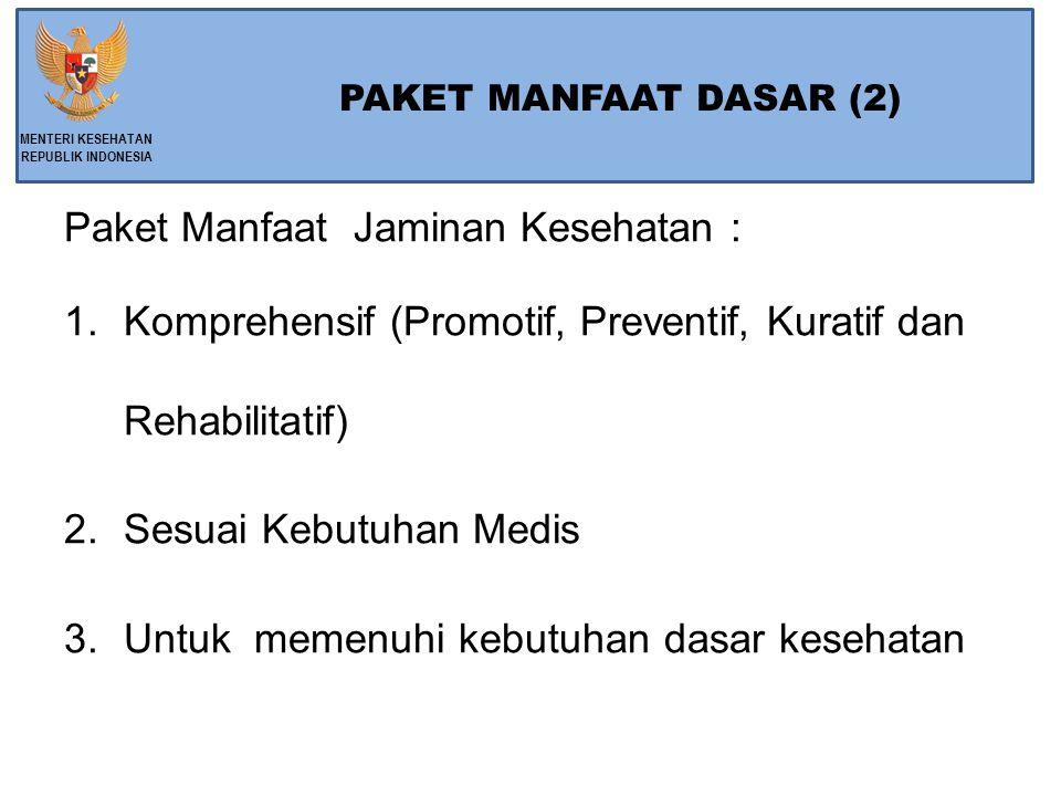PAKET MANFAAT DASAR (2) Paket Manfaat Jaminan Kesehatan : 1.Komprehensif (Promotif, Preventif, Kuratif dan Rehabilitatif) 2.Sesuai Kebutuhan Medis 3.Untuk memenuhi kebutuhan dasar kesehatan MENTERI KESEHATAN REPUBLIK INDONESIA