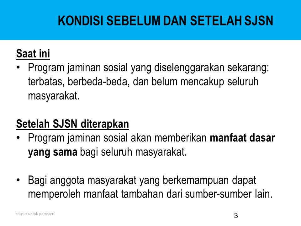 Jaminan Sosial: salah satu bentuk perlindungan sosial dimana penerima manfaat wajib membayar iuran.