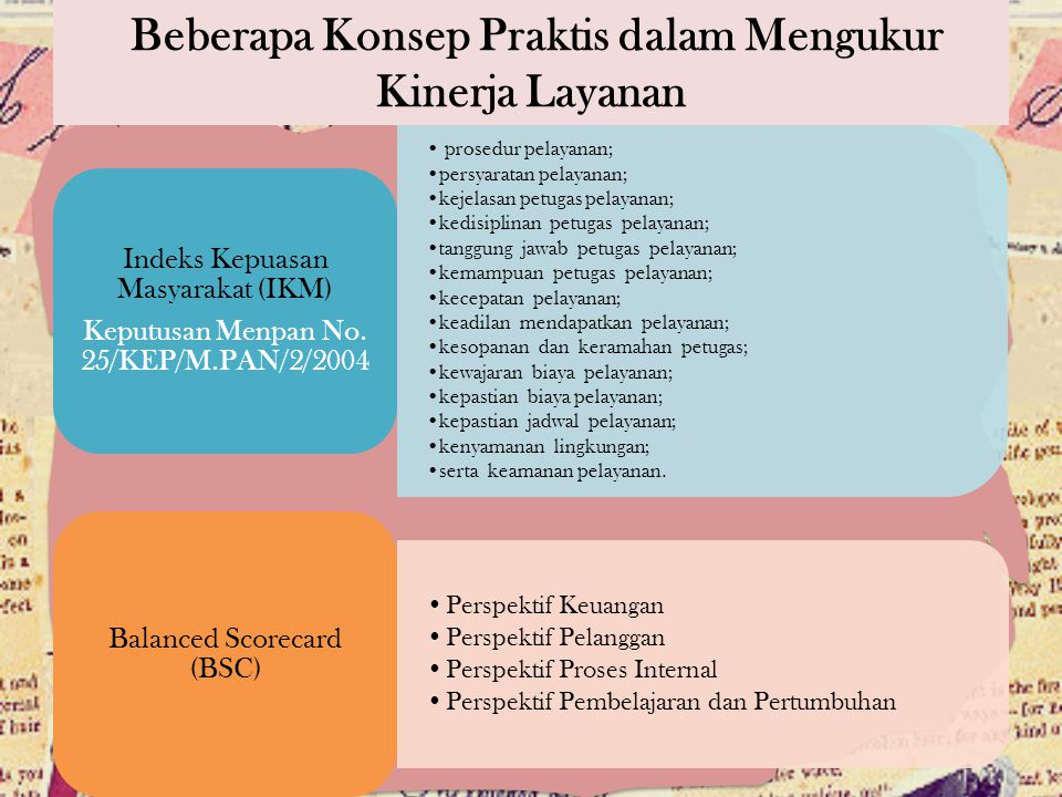 Beberapa Konsep Praktis dalam Mengukur Kinerja Layanan prosedur pelayanan; persyaratan pelayanan; kejelasan petugas pelayanan; kedisiplinan petugas pe