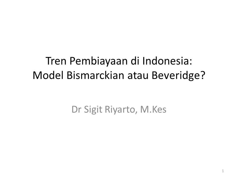 Tren Pembiayaan di Indonesia: Model Bismarckian atau Beveridge? Dr Sigit Riyarto, M.Kes 1