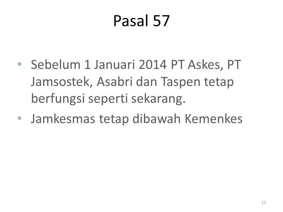 Pasal 57 Sebelum 1 Januari 2014 PT Askes, PT Jamsostek, Asabri dan Taspen tetap berfungsi seperti sekarang. Jamkesmas tetap dibawah Kemenkes 12
