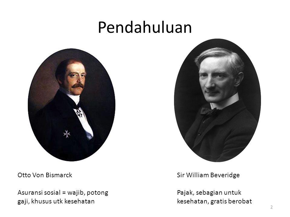 Bismarck vs Beveridge Kontribusi (premi) Potongan gaji Perusahaan Benefit package explisit Pembayaran output Kewarganegaraan Pendapatan negara Negara Benefit package implisit Pembayaran input (gaji) 3