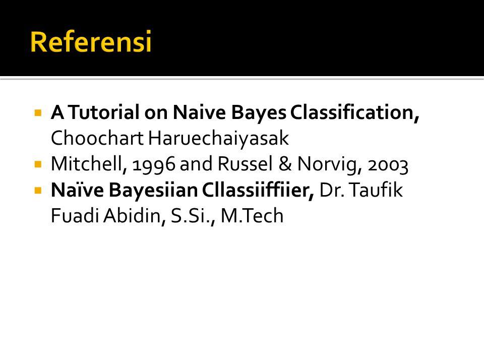  A Tutorial on Naive Bayes Classification, Choochart Haruechaiyasak  Mitchell, 1996 and Russel & Norvig, 2003  Naïve Bayesiian Cllassiiffiier, Dr.