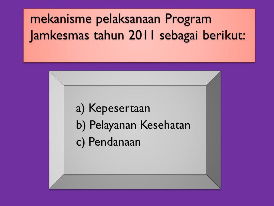 mekanisme pelaksanaan Program Jamkesmas tahun 2011 sebagai berikut: a) Kepesertaan b) Pelayanan Kesehatan c) Pendanaan