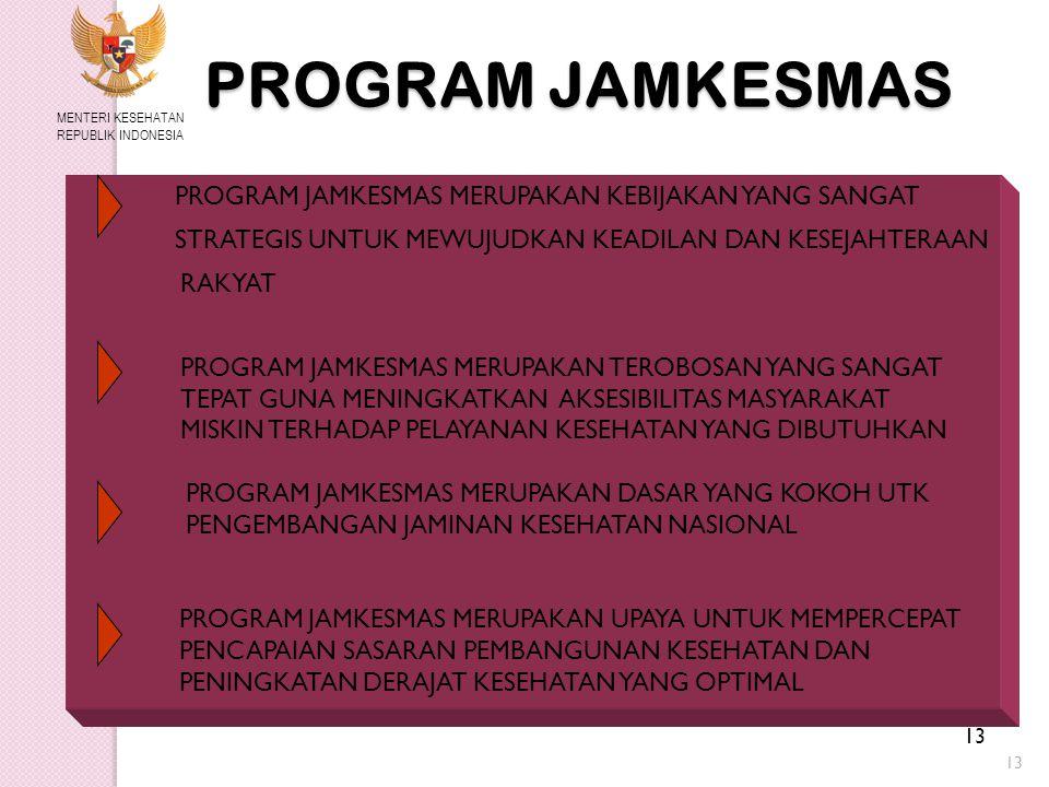 13 PROGRAM JAMKESMAS MENTERI KESEHATAN REPUBLIK INDONESIA PROGRAM JAMKESMAS MERUPAKAN KEBIJAKAN YANG SANGAT STRATEGIS UNTUK MEWUJUDKAN KEADILAN DAN KESEJAHTERAAN RAKYAT PROGRAM JAMKESMAS MERUPAKAN TEROBOSAN YANG SANGAT TEPAT GUNA MENINGKATKAN AKSESIBILITAS MASYARAKAT MISKIN TERHADAP PELAYANAN KESEHATAN YANG DIBUTUHKAN PROGRAM JAMKESMAS MERUPAKAN DASAR YANG KOKOH UTK PENGEMBANGAN JAMINAN KESEHATAN NASIONAL PROGRAM JAMKESMAS MERUPAKAN UPAYA UNTUK MEMPERCEPAT PENCAPAIAN SASARAN PEMBANGUNAN KESEHATAN DAN PENINGKATAN DERAJAT KESEHATAN YANG OPTIMAL