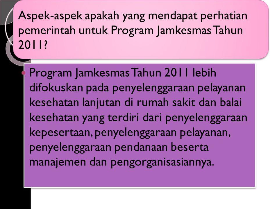 Aspek-aspek apakah yang mendapat perhatian pemerintah untuk Program Jamkesmas Tahun 2011.