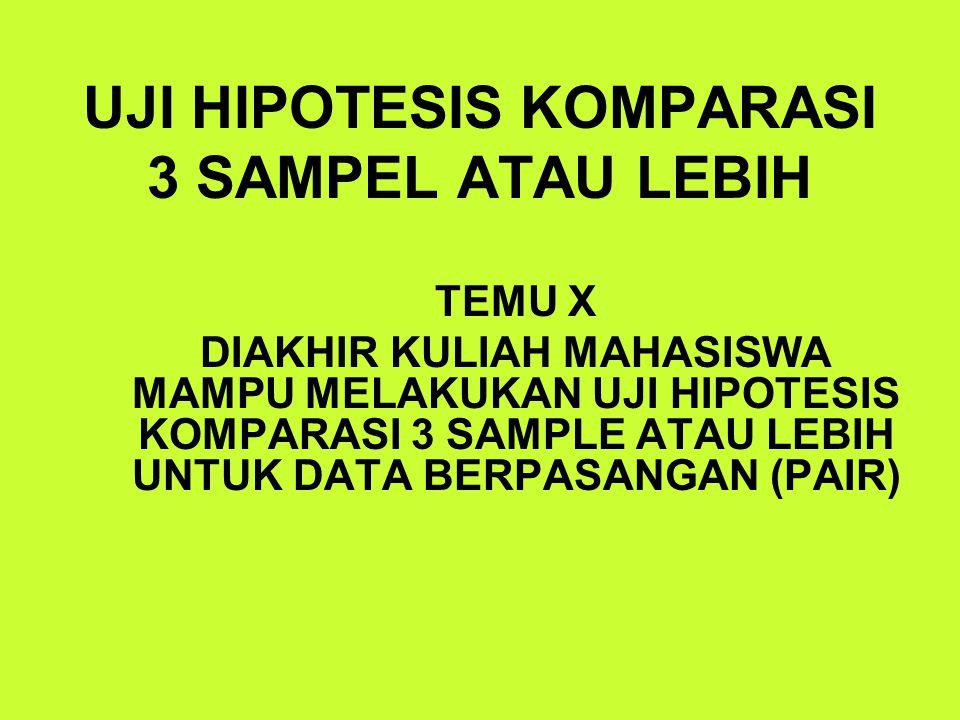 UJI HIPOTESIS KOMPARASI 3 SAMPEL ATAU LEBIH TEMU X DIAKHIR KULIAH MAHASISWA MAMPU MELAKUKAN UJI HIPOTESIS KOMPARASI 3 SAMPLE ATAU LEBIH UNTUK DATA BER