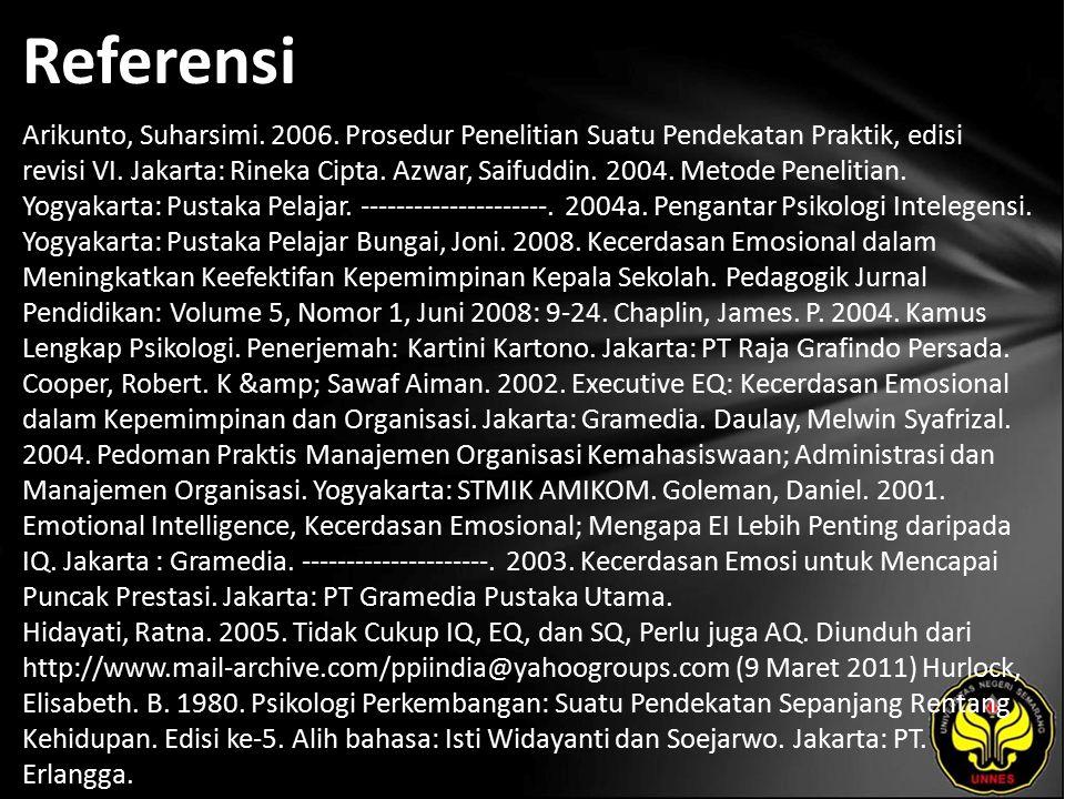 Referensi Arikunto, Suharsimi.2006. Prosedur Penelitian Suatu Pendekatan Praktik, edisi revisi VI.