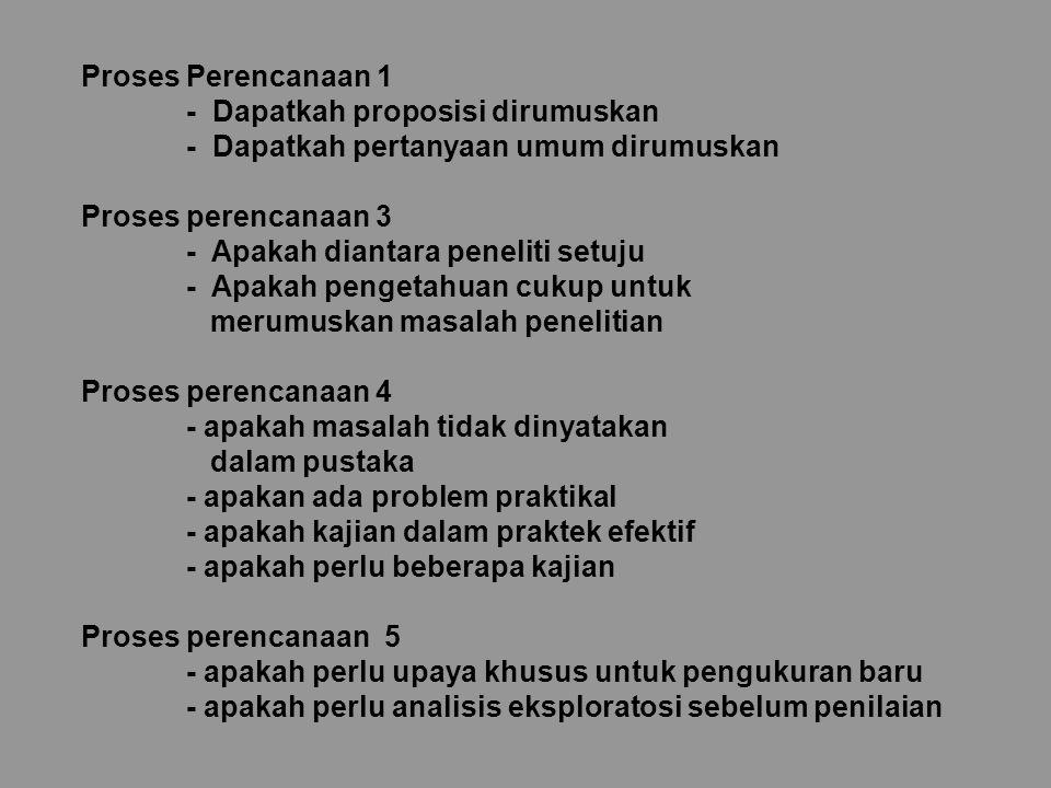 Proses Perencanaan 1 - Dapatkah proposisi dirumuskan - Dapatkah pertanyaan umum dirumuskan Proses perencanaan 3 - Apakah diantara peneliti setuju - Ap