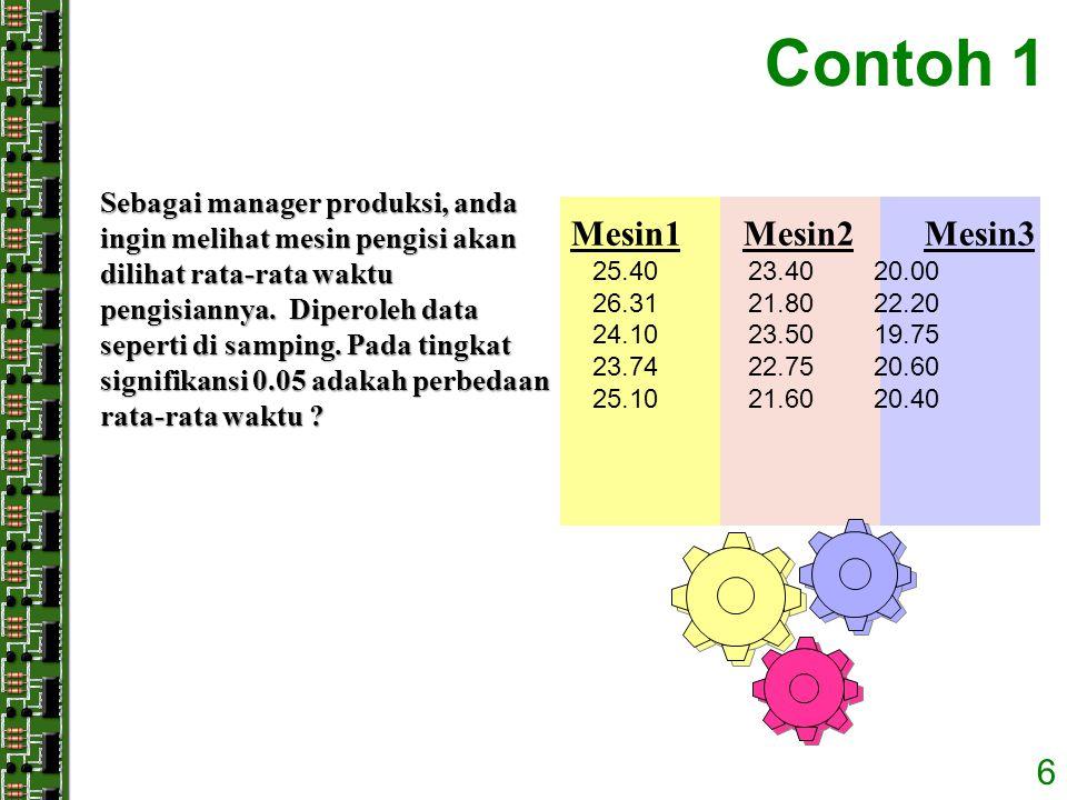 6 Contoh 1 Sebagai manager produksi, anda ingin melihat mesin pengisi akan dilihat rata-rata waktu pengisiannya. Diperoleh data seperti di samping. Pa