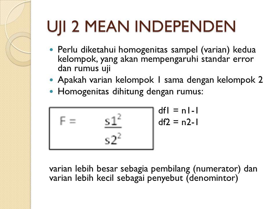 UJI 2 MEAN INDEPENDEN Perlu diketahui homogenitas sampel (varian) kedua kelompok, yang akan mempengaruhi standar error dan rumus uji Apakah varian kelompok 1 sama dengan kelompok 2 Homogenitas dihitung dengan rumus: df1 = n1-1 df2 = n2-1 varian lebih besar sebagia pembilang (numerator) dan varian lebih kecil sebagai penyebut (denomintor)