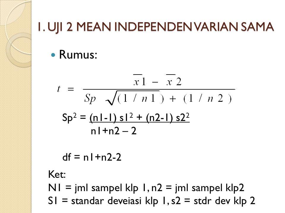 1. UJI 2 MEAN INDEPENDEN VARIAN SAMA Rumus: Sp 2 = (n1-1) s1 2 + (n2-1) s2 2 n1+n2 – 2 df = n1+n2-2 Ket: N1 = jml sampel klp 1, n2 = jml sampel klp2 S