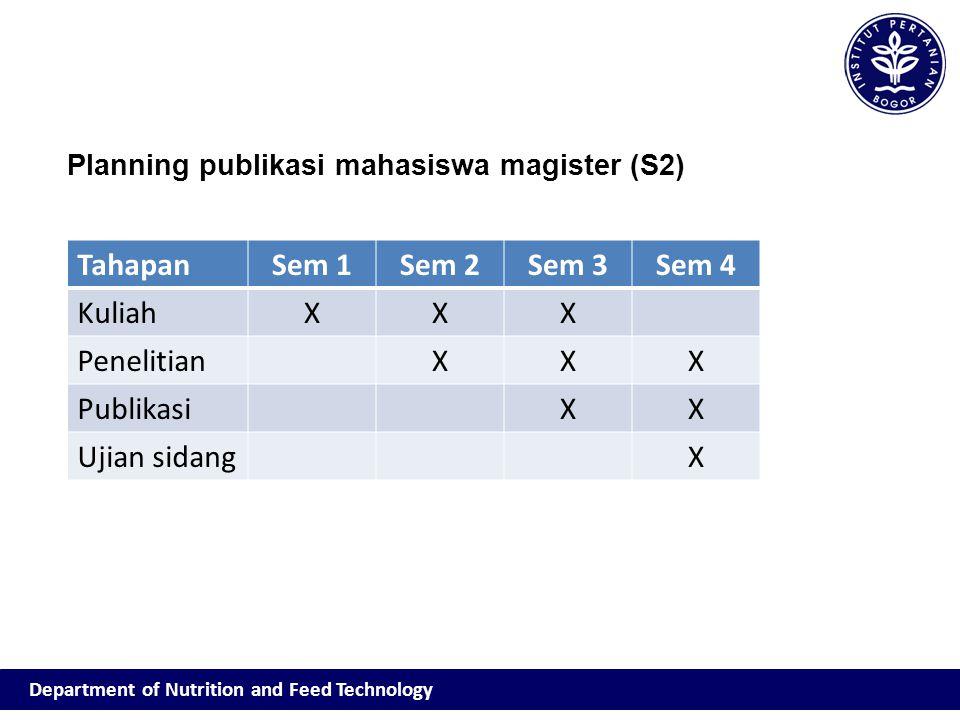 TahapanSem 1Sem 2Sem 3Sem 4 KuliahXXX PenelitianXXX PublikasiXX Ujian sidangX Planning publikasi mahasiswa magister (S2)