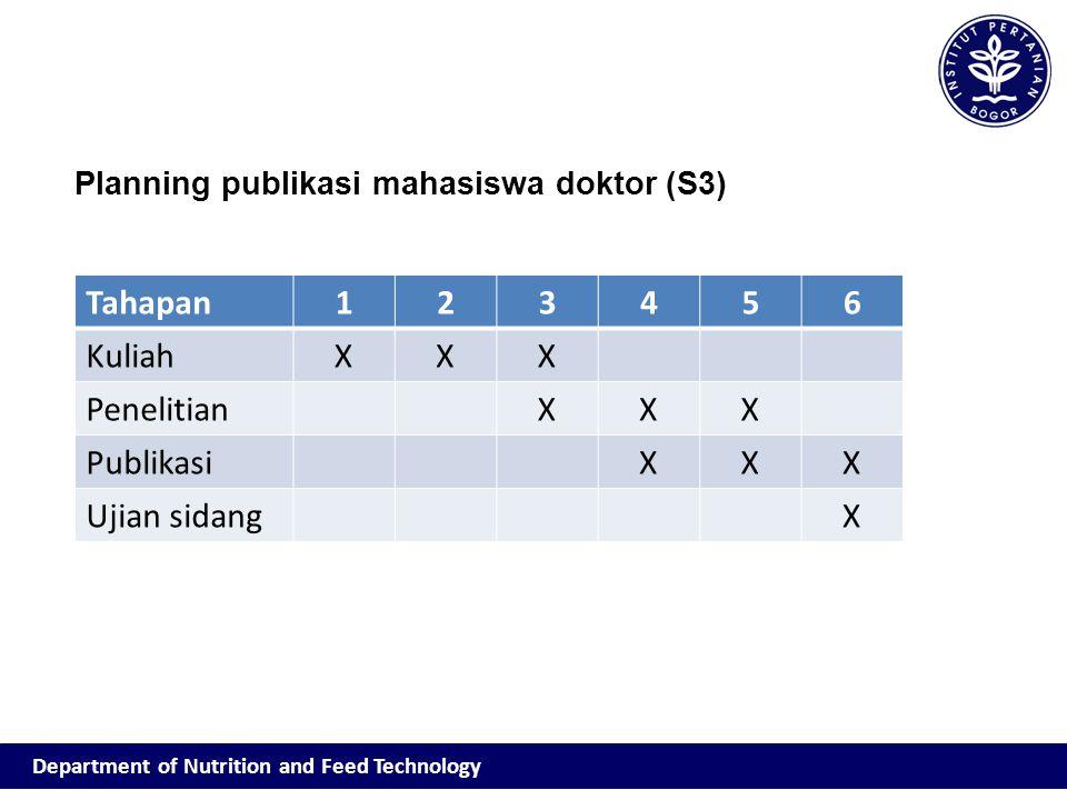 Department of Nutrition and Feed Technology Planning publikasi mahasiswa doktor (S3) Tahapan123456 KuliahXXX PenelitianXXX PublikasiXXX Ujian sidangX