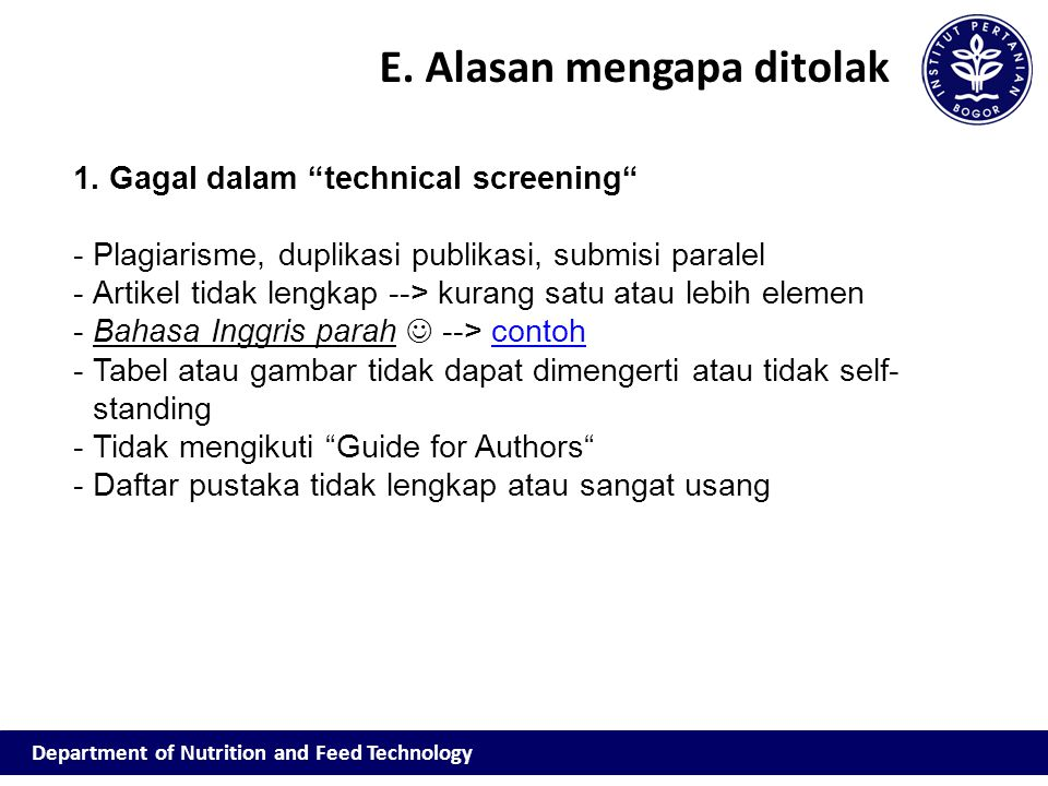 Department of Nutrition and Feed Technology E.Alasan mengapa ditolak 1.
