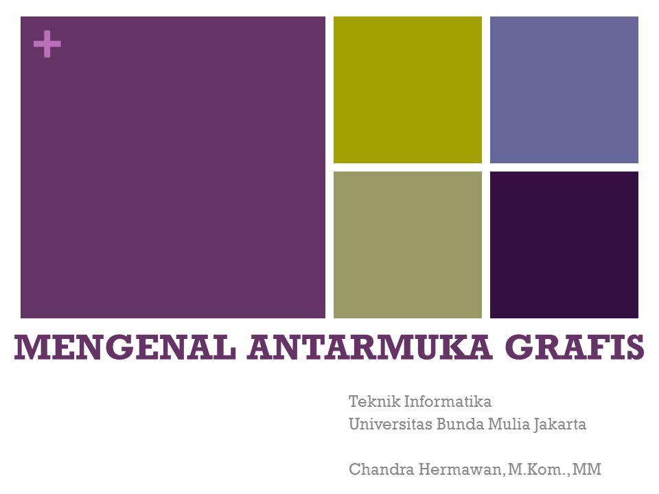 + MENGENAL ANTARMUKA GRAFIS Teknik Informatika Universitas Bunda Mulia Jakarta Chandra Hermawan, M.Kom., MM
