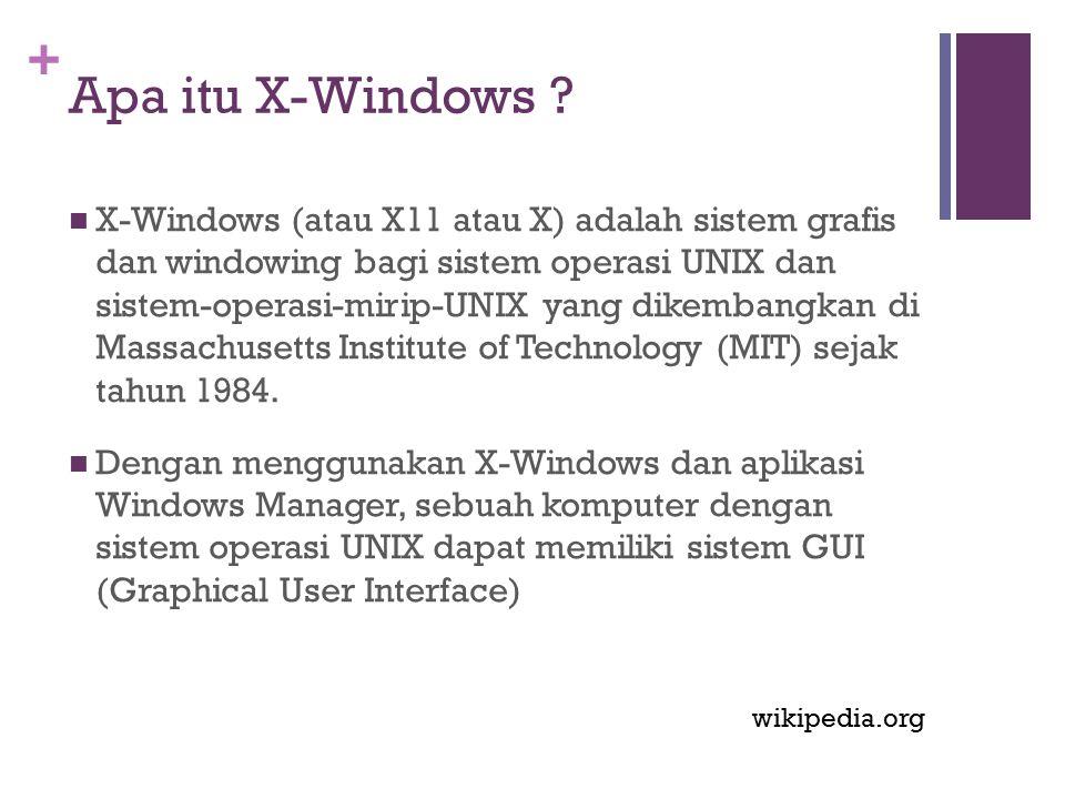 + Apa itu X-Windows ? X-Windows (atau X11 atau X) adalah sistem grafis dan windowing bagi sistem operasi UNIX dan sistem-operasi-mirip-UNIX yang dikem