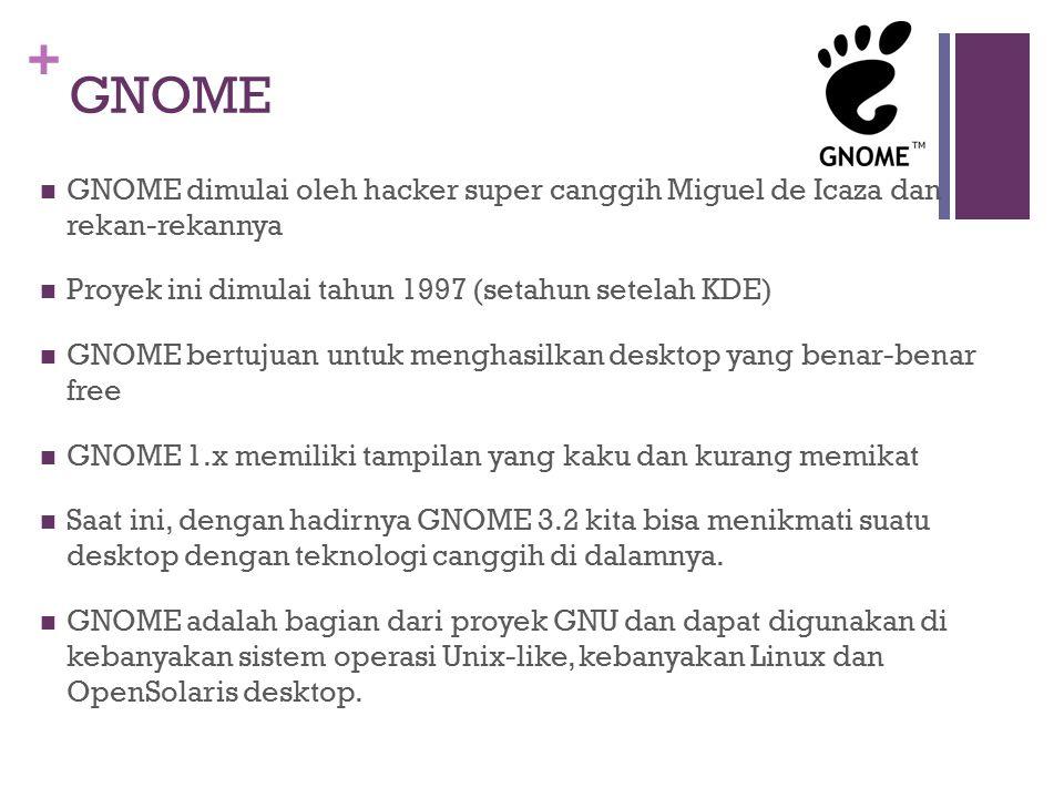 + GNOME GNOME dimulai oleh hacker super canggih Miguel de Icaza dan rekan-rekannya Proyek ini dimulai tahun 1997 (setahun setelah KDE) GNOME bertujuan