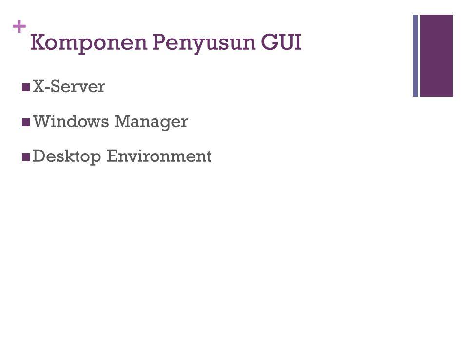 + Komponen Penyusun GUI X-Server Windows Manager Desktop Environment