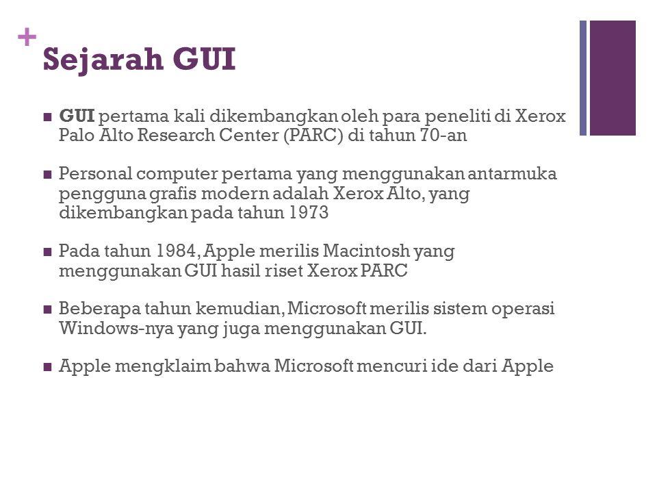+ Sejarah GUI GUI pertama kali dikembangkan oleh para peneliti di Xerox Palo Alto Research Center (PARC) di tahun 70-an Personal computer pertama yang