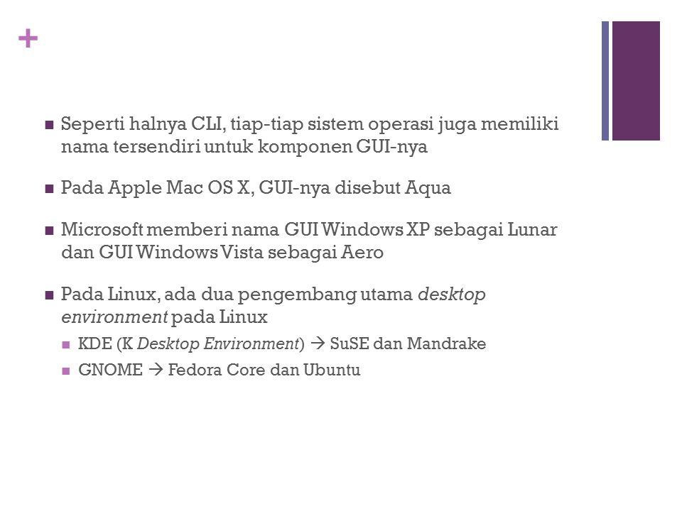 + Seperti halnya CLI, tiap-tiap sistem operasi juga memiliki nama tersendiri untuk komponen GUI-nya Pada Apple Mac OS X, GUI-nya disebut Aqua Microsof