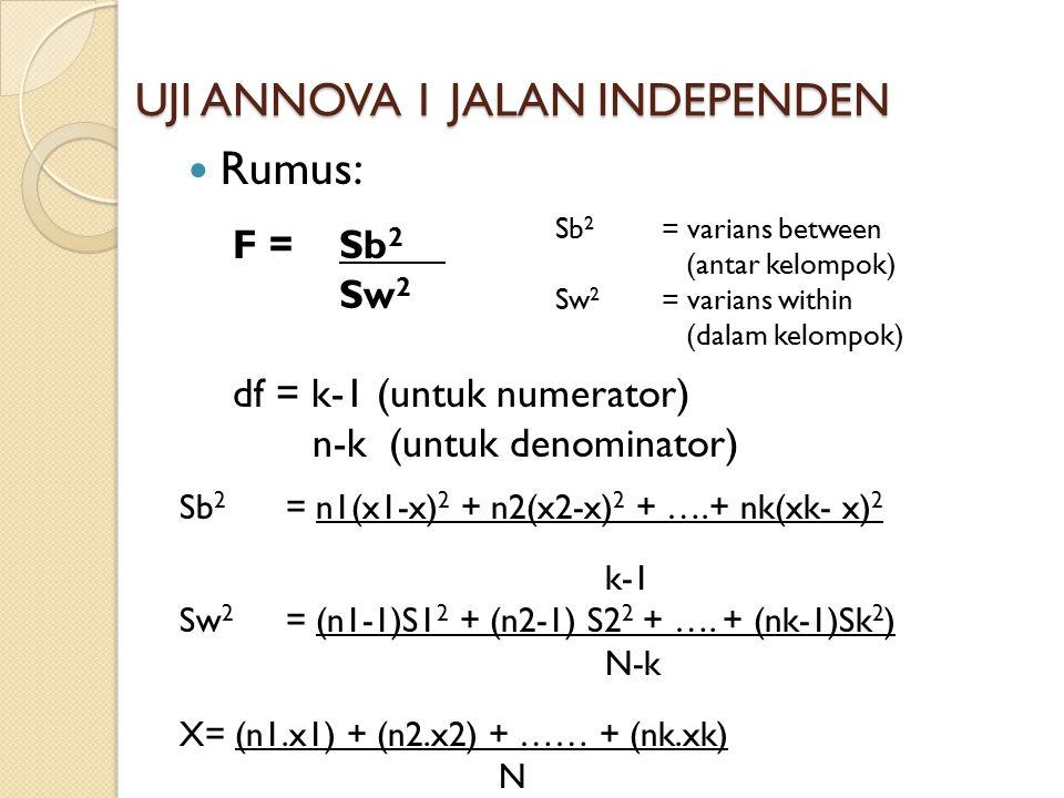 UJI ANNOVA 1 JALAN INDEPENDEN Rumus: F = Sb 2 Sw 2 df = k-1 (untuk numerator) n-k (untuk denominator) Sb 2 = n1(x1-x) 2 + n2(x2-x) 2 + ….+ nk(xk- x) 2